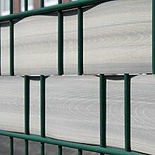 Videx Sichtschutzstreifen für Doppelstabmatten incl. Klemmschienen, PVC Holzmaserung, 2 Stück, lärche-grau, H: 9,5 x L: 250 cm