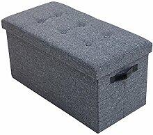 Vielseitige Sitzbank KINGSTON grau Strukturstoff Sitzhocker Bank Stauraum mit Knopfsteppung belastbar bis 150 Kg faltbar mit Knopfsteppung