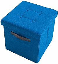 Vielseitiger Hocker KINGSTON blau Sitzwürfel Strukturstoff Sitzhocker Falthocker Stauraum faltbar mit Deckel mit Knopfsteppung belastbar bis 150 Kg