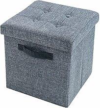 Vielseitiger Hocker KINGSTON grau Sitzwürfel Strukturstoff Sitzhocker Falthocker Stauraum faltbar mit Deckel mit Knopfsteppung belastbar bis 150 Kg
