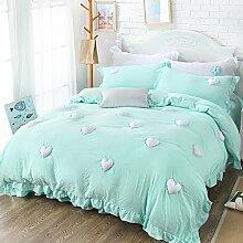 Vier sätze von wasch-bett pink prinzessin-stil pure color sheet mit simple quilt cover-K Queen1