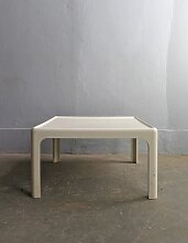 Viereckiger Weiß Lackierter Vintage Beistelltisch