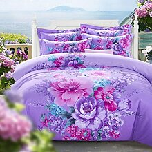 Vierteilige, hautfreundliche Baumwolle, Aktivdruck, 4 Sätze Bettwäsche (1 Bettwäsche + 1 Steppdecke + 2 Kissenbezüge) , E , 1.8m bed