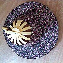 vigvog Faltfächer florales Muster Multi–Funktionen Fan Hat Creative Fan Sommer Fashion Bambus Fan, C-2, One?Size