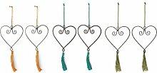 Villa d 'Este Home Tivoli Ideen Set Kleiderbügel Herz, Metall, mehrfarbig, 13x 0.1x 15cm, 6Stück