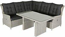 VILLANA exklusive Eck-Loungegruppe für 6 Personen aus hochwertigem Polyrattan in braun, Gartentisch mit Glastischplatte, ca. 142 x 82 x 70 cm, inkl. Polster, Tisch und Sofa, Couchecke, wetterfes