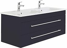 Villeroy und Boch Doppelwaschtisch 130cm ● Badezimmermöbel in anthrazit ● Unterschrank mit 2 Softclose-Schubkästen ● Keramik Waschbecken, Edelstahl Griffe
