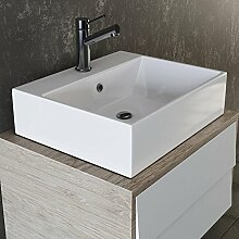 VILSTEIN© Keramik Waschbecken Hängewaschbecken Aufsatzwaschbecken Waschtisch rechteckig eckig weiss