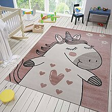 VIMODA Kinderzimmer Teppich Einhorn Flauschig für