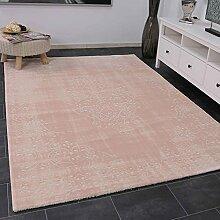 VIMODA Kurzflor Teppich Elegant Modern Klassisch in Rosa Weiß Dicht Gewebt Used Look Zeitloses Design, Maße:200x290 cm