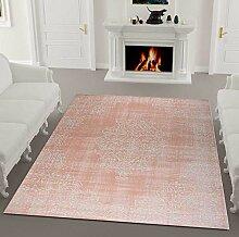 VIMODA Kurzflor Teppich Klassisch in Rosa Weiß