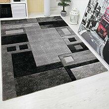 VIMODA Modern Designer Teppich, Kariert und Meliert,Sehr Dicht Gewebt - ÖKO TEX Zertifiziert, Farbe Grau, Maße: 80x150 cm