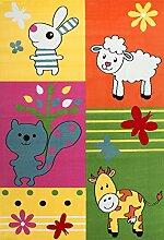 VIMODA Moderner Kinderteppich Bauernhof Kinder Teppich Kuh Schaf in Bunte Farben ÖKO TEX 100 Zertifiziert Maße: 120x170 cm