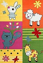 VIMODA Moderner Kinderteppich Bauernhof Kinder Teppich Kuh Schaf in Bunte Farben ÖKO TEX 100 Zertifiziert Maße: 80x150 cm