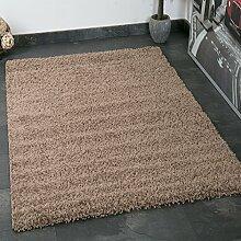 VIMODA prime1000 Shaggy Hoch-/Langflor Teppich, Modern für Wohn-/Schlafzimmer, Polypropylen, einfarbig Nougat hellbraun, 100 x 200 cm