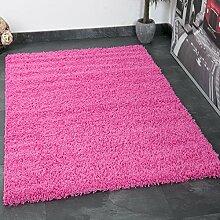 VIMODA prime1000 Shaggy Hoch-/Langflor Teppich, Modern für Wohn-/Schlafzimmer, Polypropylen, rosa, 100 x 200 cm