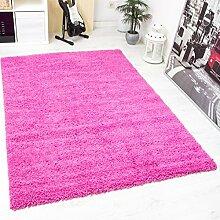 VIMODA prime1000 Shaggy Hoch-/Langflor Teppich, Modern für Wohn-/Schlafzimmer, Polypropylen, Rund, rosa, Durchmesser 120 cm