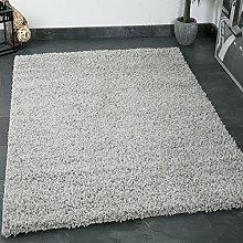VIMODA prime1000 Shaggy Hoch-/Langflor Teppich, Modern für Wohn-/Schlafzimmer, Polypropylen, Rund, grau, Durchmesser 80 cm