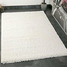 VIMODA prime1000 Shaggy Hoch-/Langflor Teppich, Modern für Wohn-/Schlafzimmer, Polypropylen, weiß, 70 x 250 cm