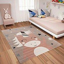 VIMODA Teppich Einhorn Kinderzimmer Flauschig,