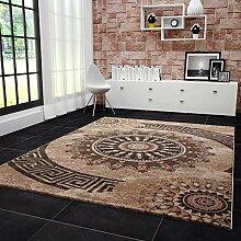 VIMODA Teppich Klassisch Gemustert Kreis, sehr dicht gewebt, Meliert Ornamente Muster in Braun Beige Schwarz - Top Qualität, Maße: 240x340cm