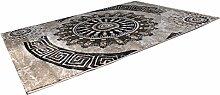 VIMODA Teppich Klassisch Gemustert Kreis, sehr dicht gewebt, Meliert Ornamente Muster in Braun Beige Schwarz - Top Qualität, Maße: 120x170cm
