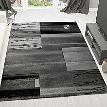 VIMODA Teppich Modern Designer Klassik Kariert Gestreift in Grau,sehr dicht gewebt - Geprüft auf Schadstoffe, Maße: 80x150 cm