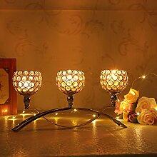 VINCIGANT Golden 3-armig Kerzen Kristall kerzenständer Dekoration Wohnung Modern Partylite Orientalische Dekoration Kerzenhalter Wohnaccessoires Kerzenzubehör