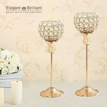 VINCIGANT Kristall Kerzenhalter Stabkerze Goldene Hochzeit Halloween Dekoration 2er Set Kandelaber Kerzenständer Gold