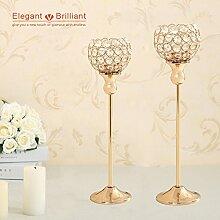 VINCIGANT Votive Kerzenhalter Stabkerze Goldene Hochzeit Dekoration 2er Set kandelaber kerzenständer Kristall