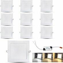 VINGO® 10x 9W Ultraslim LED Panel Einbaustrahler