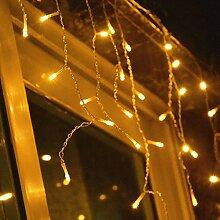 VINGO 20m 600 LED Eiszapfen Lichterkette Warmweiß