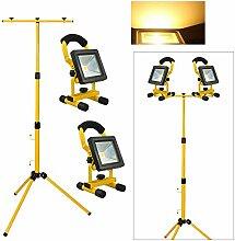 VINGO® 2X LED Strahler Akku Mit Teleskop-Stativ