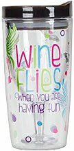Vingo Wine Flies Wine Tumbler, Multicolor by Happy