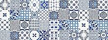 viniliko Teppich Lissabon, Vinyl, blau, 66x 180x 3cm