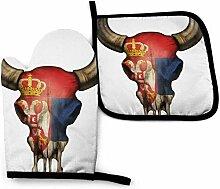 Vinkde Serbische Flagge Bull Skull Retro