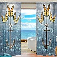 Vinlin Fenstervorhang Schmetterling Anker Voile