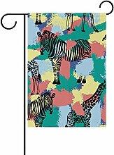 vinlin Garten Flagge Bürste Muster mit Zebra und