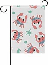 vinlin Garten Flagge Cartoon Crab mit Fisch