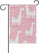 vinlin Garten Flagge Lamas mit Kronen langlebiges