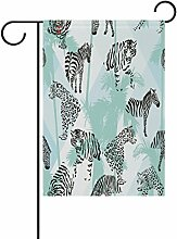 vinlin Garten Flagge Leoparden mit Palm Blätter