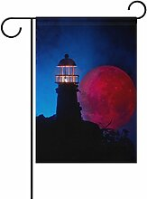 vinlin Garten Flagge Leuchtturm mit Beam Bei Nacht