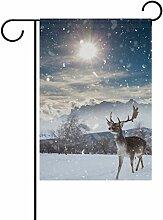 vinlin Garten Flagge Märchens mit Deer in Heavy