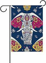 vinlin Garten Flagge Muster mit Mandala Elefant