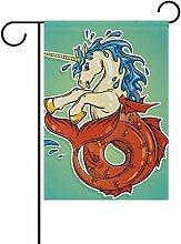 vinlin Garten Flagge Ocean Einhorn mit Fishtail