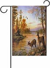 vinlin Garten Flagge Sonnenuntergang Fluss mit