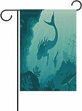 vinlin Garten-Mermaid Unter Wasser, mit Flagge aus