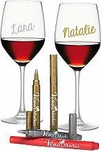 Vino Marker Weinglas-stifte/Marker, metallic, 4er Packung – eine neue Alternative zu Glasmarkers