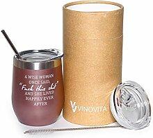 Vinovita Edelstahl-Weinglas, isoliert, ohne Stiel,
