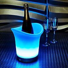 Vinsani LED-Farbwechsel-Eiskübel für Wein und Champagner, 7Farben,batteriebetrieben